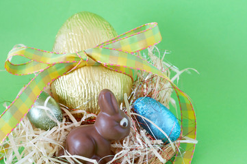 Colorful wrapped chocolate Easter eggs