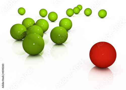 red ball separated from green ones
