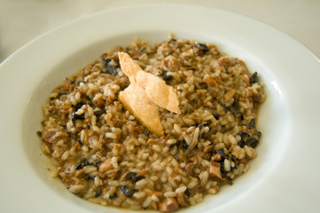 Mushroom Risotto with cookie cheese