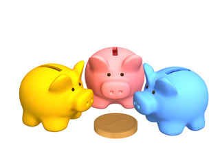 Three  pigs of a coin box, worth around of one coin