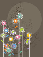 whimsical bright flowers and swirls (vector)