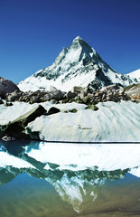 Shivling peak reflection