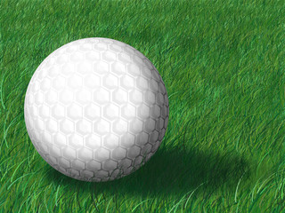 Golf ball on a grass