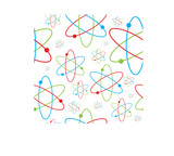 science inspired background with a repeating atom image poster
