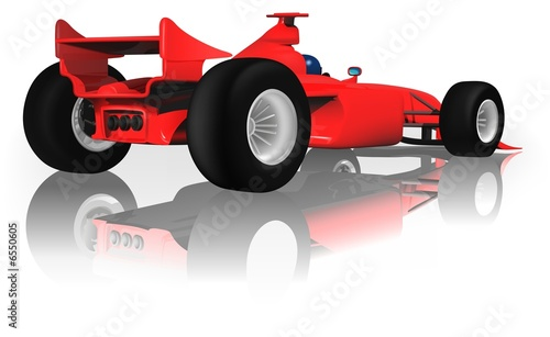 Foto op Canvas Cars Ferrari F1 from Back - illustration
