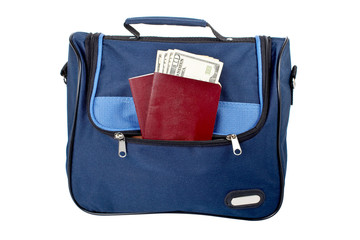 Handbag, two passports and money