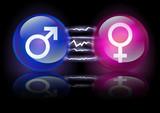 Boules de cristal masculin et féminin sous tension poster