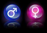 Boules de cristal masculin et féminin sur fond noir poster