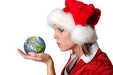 Santa Girl blowing wishes on earth poster