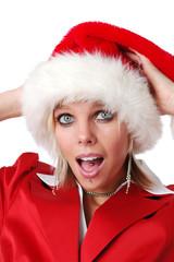 Beautiful Santa girl with hat