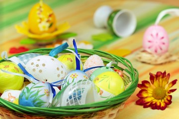 Home decoration - basket full painted easter of eggs
