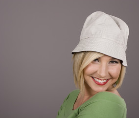 Blonde White Hat Leaning Smile