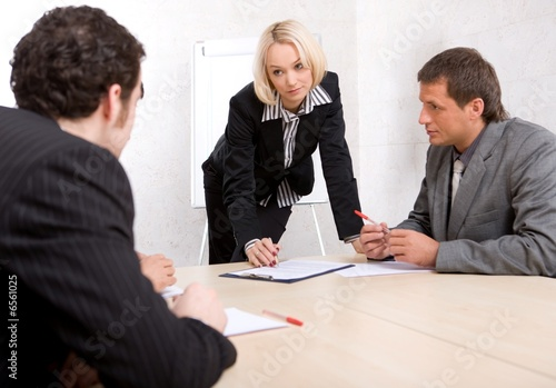 business people at a meeting