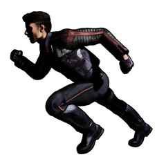 scifi man with jacket running