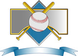 Baseball crest with bat and ball poster