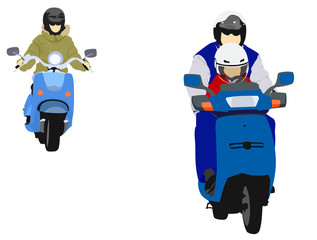 illustration of young biker family
