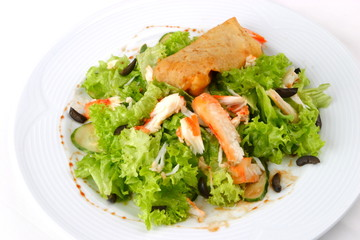 Dish from mutton, fritter, Seafoods, salad, greens,