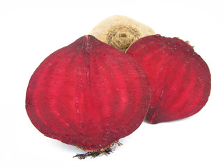 Beet root cross section isolated on white background