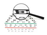 Magnifier on eyesight test chart poster