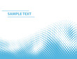 Vector half-tone dots wave with sample text - blue