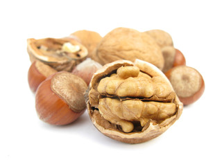 Walnut and hazelnuts broken isolated on white background
