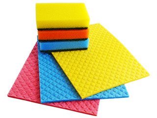 sponge and napkins on  white background (clipping path)