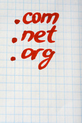 dot COM NET ORG Domain - internet concept