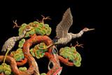 Asian temple crane motif on black background poster