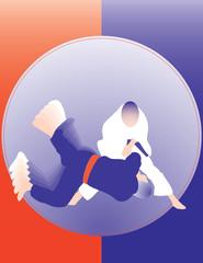 Judo throw poser 1. Two color design.