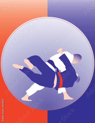 Judo throw poster 3. Two color design.