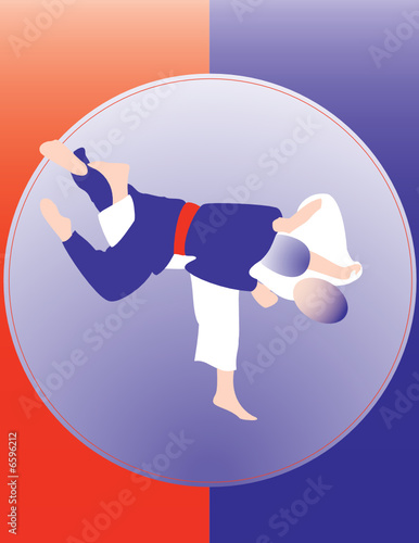Judo throw poster 2. Two color design.