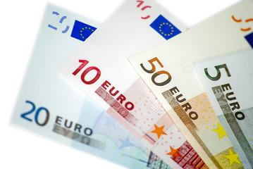 Euro banknotes on white background isolated