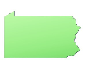 Pennsylvania map filled with light green gradient