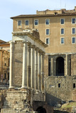 Temple of Saturn in the Roman Forum in Rome, Italy. poster