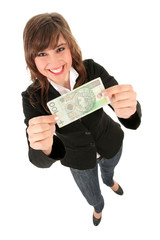 Woman Holding Banknote