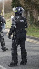 Uk Police Officers in Riot Gear