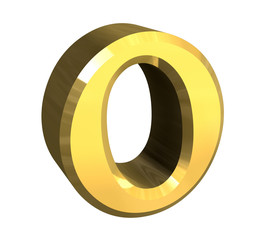 omicron symbol in gold (3d)