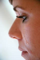 Woman with tears in her face