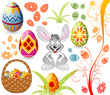 Easter set with ornament eggs, rabbit, crib, grass, vector