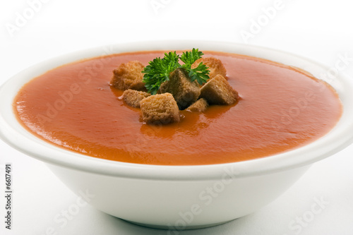 tomato soup on white background