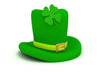 Leprechaun hat with four-leaf clover