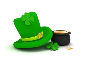 St. Patrick's Day leprechaun hat with four-leaf clover