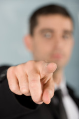 businessman pointing at