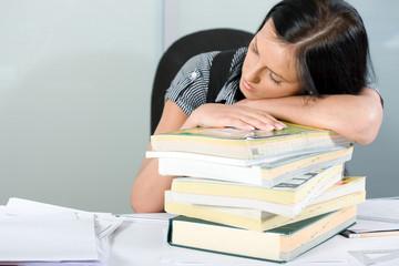 a sleeping businesswoman