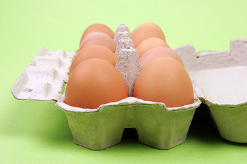 close up of raw eggs on white green background