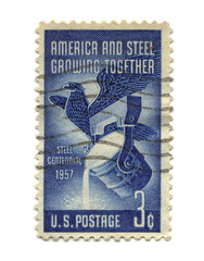 Old postage stamp from USA three cents