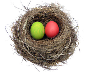 Painted Easter eggs in a bird's nest.