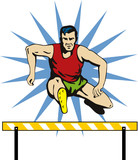 Athlete jumping hurdles poster