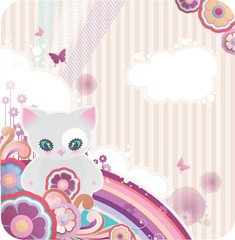 cartoon background with flowers rainbow and kitty
