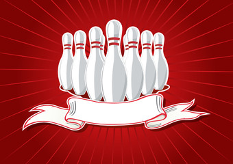 Vector illustration of 9 pins with banner on red